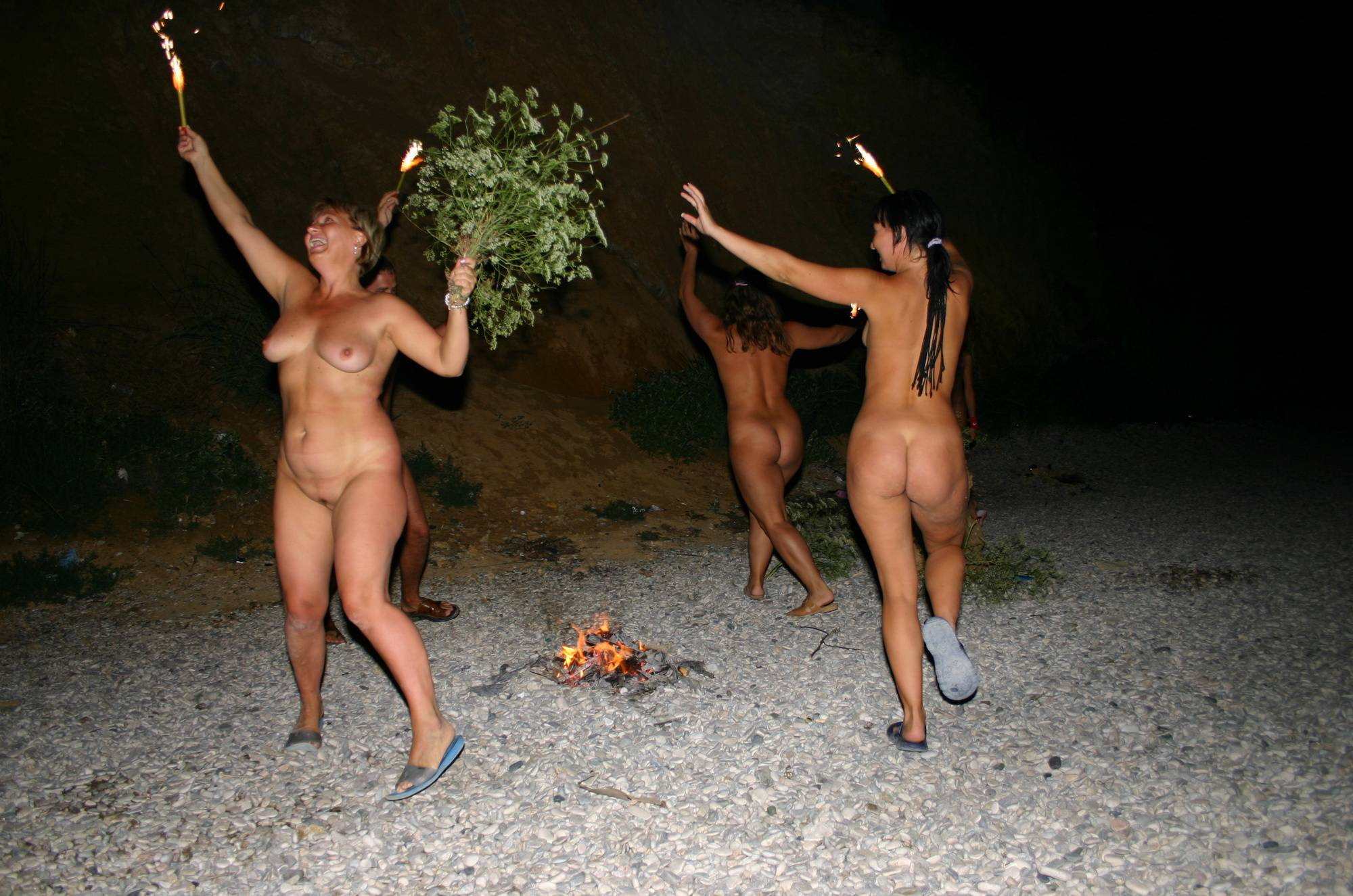 Nudist Pics Fire and Bow Night Dancing - 2